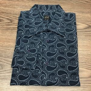 Ike Behar Navy Embroidered Paisley Shirt L